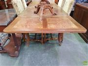 Sale 8617 - Lot 1033 - French Walnut Extension Dining Table, with burr panels & draw-leaves, raised on cabriole legs