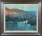 Sale 8677B - Lot 525 - G Preiss, Winter evening by the sea, oil on board, 61 x 74cm