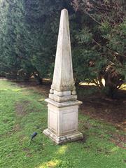 Sale 8782A - Lot 1 - An Empire style concrete obelisk, height 2.42cm x width 55cm.