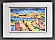 Sale 8778A - Lot 5003 - Oleg Nikulov - City & Lake 52.5 x 45.5cm (frame)