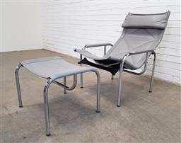 Sale 9151 - Lot 1006 - Hans Eichenberger chrome framed lounge chairs and footstool for Strassel (h:95 x w:70 x d:75cm)