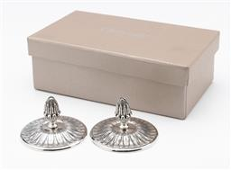 Sale 9255H - Lot 53 - A pair of Christofle Malmaison silver-plated flower and acorn form place menu/name holders, Diameter 7cm, boxed.