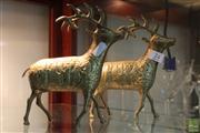 Sale 8288 - Lot 74 - Brass Pair of Reindeer