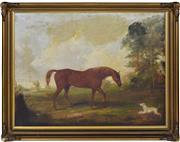 Sale 8374 - Lot 574 - Joseph Maiden (1813 - 1843) - Horse in Pastoral Setting 57 x 75.5cm