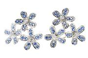 Sale 8426J - Lot 343 - A PAIR OF 18CT WHITE GOLD SAPPHIRE AND DIAMOND EARRINGS; floral spays set with 6 round brilliant cut diamonds and round cut blue sap...