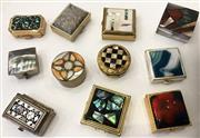 Sale 8436A - Lot 71 - A group of geometrically decorated pill boxes in silverplate and gilt set with mother of pearl, paua, agate etc. Origins, Mexico, NZ...