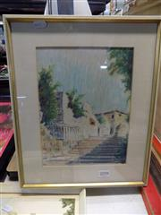 Sale 8422T - Lot 2098 - Joyce Thompson, Pastel & Acrylic, Stairway at Darlinghurst, signed & dated LL 26x20cm