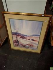 Sale 8627 - Lot 2068 - Pat Denman - Country Landscape with Cottage, Watercolour SLR, 94x79 frame size