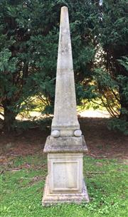 Sale 8782A - Lot 2 - An  Empire style concrete obelisk, height 2.42cm x width 55cm.