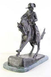 Sale 8989 - Lot 36 - After Frederic Remington The Cowboy Reproduction Bronze on Marble (57cm x50cm x 25cm)