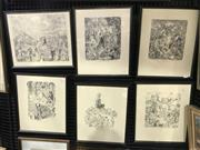 Sale 9024 - Lot 2032 - A set of 6 Norman Lindsay bookplates, various frame sizes