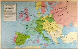 Sale 9148 - Lot 69 - Vintage School Map of Napoleonic Conquests (123 x 86cm)