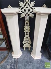 Sale 8455 - Lot 1004 - Pair of Hexagonal Travertine Plinths