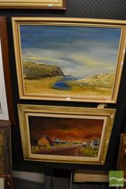 Sale 8471 - Lot 2043 - 2 Framed Artworks; Artists Unknown; Beach Scene with Figures & Country Road at Sunset