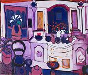 Sale 8565 - Lot 583 - Ross Davis (1938 - 2001) - Purple Interior, 1995 80 x 95cm