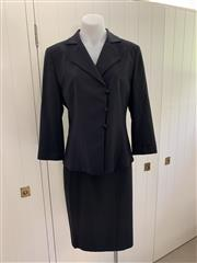 Sale 8694A - Lot 99 - An Armani Collezioni black wool-blend double breasted suit jacket and skirt, both size IT. 44