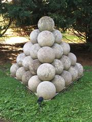 Sale 8782A - Lot 3 - A concrete sphere sculpture of 35 balls, Height 131 x width 150cm
