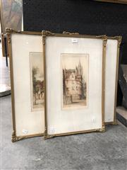 Sale 8807 - Lot 2087 - Group of 3 Original Etchings, Scenes from Scotland, 47 x 32 (frame), each signed lower right