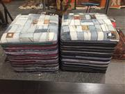 Sale 8817 - Lot 1020 - Pair of Denim Jeans Patchwork Upholstered Ottomans (47cm2)