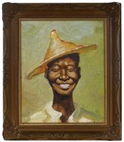Sale 8964 - Lot 2011 - Dixon Copes Happy Farmer oil on canvas on board, 38 x 33cm (frame), signed -