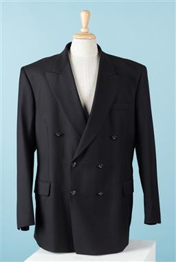 Sale 9092F - Lot 11 - A SANTIX ZIGNONE ITALIAN BLACK; Double Breasted Jacket, Super 100. %100 Wool Size 58R