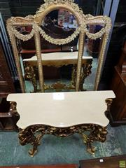 Sale 8576 - Lot 1064 - Baroque Style Gilt Mirror & Console, the mirror divided into three sections, with the wings having festoons, above a cream stone top...