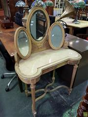 Sale 8601 - Lot 1152 - Gilded Mirrored Back Dresser with Marble Insert Top