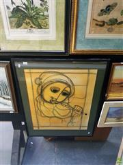 Sale 8631 - Lot 2042 - Ben Macala Flute Musician mixed media on paper, 62.5 x 50cm, signed lower right
