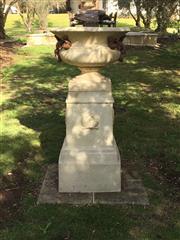 Sale 8782A - Lot 4 - A pair of large decorative concrete urns on a plinth base, Height 124 x diameter 62cm
