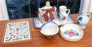 Sale 8990H - Lot 47 - A small quantity of mainly Czechoslovakian ceramics, tray, bottle flasks, painted tile etc largest tray length 29cm