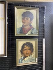 Sale 9087 - Lot 2083 - J Brandsma (2 works) Boy in Red Scarf; Girl with Gold Earrings oil on canvas 38 x 33cm; 35 x 29cm (frames), each signed