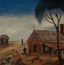 Sale 9123J - Lot 89 - Pro Hart Miners House, oil on canvas 30x30cm signed lower right