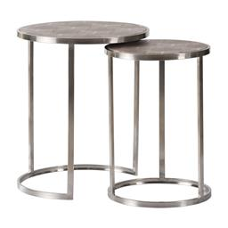 Sale 9134H - Lot 19 - A set of round timber and stainless steel nesting tables with faux reptile skin top,  Height 56cm