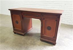 Sale 9142 - Lot 1034 - Late Victorian Inlaid Walnut Desk, fitted with a drawer & two timber panel doors - missing one back leg (H: 76 x W: 141 x D: 57 cm)