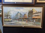 Sale 8419T - Lot 2036 - Burnett, Street Scene, oil on canvas on board, 59 x 120cm, signed lower right