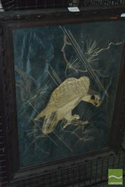 Sale 8425T - Lot 2098 - Framed Oriental Embroidered Silk Bird of Prey with a Print depicting Iguana & Hibiscus