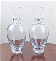 Sale 8470H - Lot 49 - A pair of baluster form glass decanters with hollowed stoppers, H 28cm