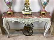 Sale 8730B - Lot 2 - Rouge Marble Topped Console Table on a White Timber Base with Cabriole Legs H: 86cm W: 190 D: 66