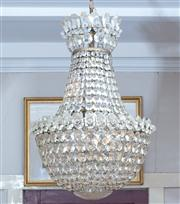 Sale 8804A - Lot 13 - A cut-glass basket shaped chandelier with rosette cut disc, H approx 60cm