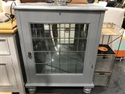Sale 8809 - Lot 1058 - Painted Timber Display Cabinet with Mirrored Back & Leadlight Panel Door