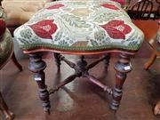 Sale 8814 - Lot 1099 - Victorian Stool, with bright floral upholstery, on turned legs with stretchers