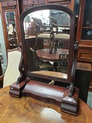 Sale 9031 - Lot 1023 - Victorian Mahogany Toilet Mirror, with shaped supports, hinged compartment & two concealed drawers (some faults)