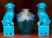 Sale 9058H - Lot 88 - A blue flambe glazed vase with two shoulder applications, of diminutive size. not marked, together with a pair of turquoise glazed d...