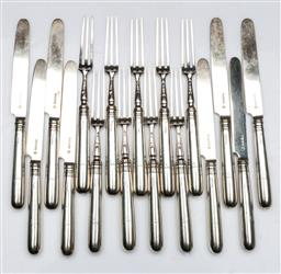 Sale 9093 - Lot 59 - Victorian English Hallmarked Sterling Silver Dessert Cutlery Suite, Sheffield, c.1885 by Martin Hall& Co (total 17pcs wt 831g)