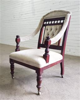 Sale 9142 - Lot 1042 - Late Victorian Armchair, padded & partly buttoned in cream velvet, with spindle gallery & turned legs (H: 97 x W: 57 x D: 69 cm)