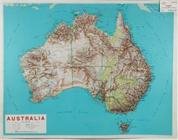 Sale 9148 - Lot 67 - Vintage 3 Dimenional Topographic Map of Australia (89 x 69cm)