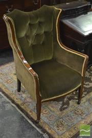 Sale 8345 - Lot 1041 - Edwardian Inlaid Mahogany Wingback Armchair, upholstered in green buttoned fabric & tapering legs