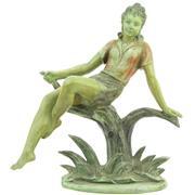 Sale 8356 - Lot 19 - Cold Painted Cast Metal Art Deco Lady Figure