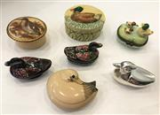 Sale 8436A - Lot 78 - A Group of assorted pill boxes with duck themes including  a Met Museum replica, Aynsley and lacquer ware. (7)