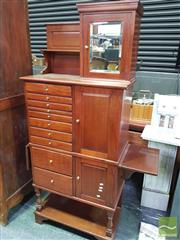 Sale 8444 - Lot 1012 - Late 19th/ Early 20th Century Walnut Dentists or Medical Cabinet, with shelf & mirrored door to top, with ten drawers two doors, dr...